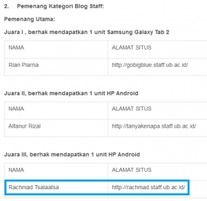 Pemenang UB Blogmetrics Award 2012